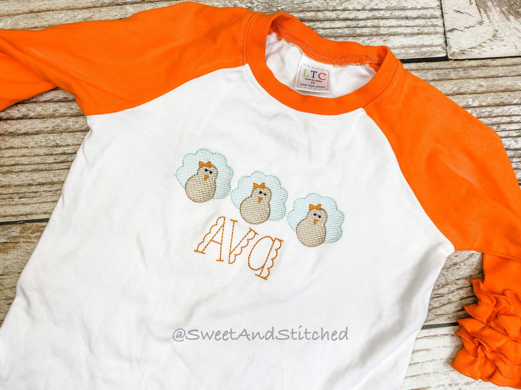 Girls Monogrammed turkey Shirt, toddler turkey raglan thanksgiving tee