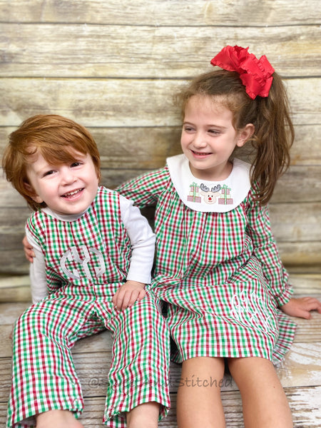 Monogrammed Christmas outfit boys in christmas plaid gingham, Boys Christmas overalls