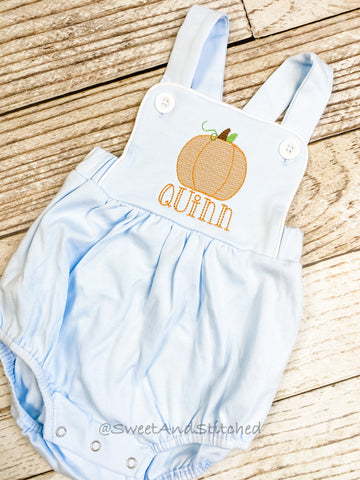 Monogrammed boys fall romper in baby blue with pumpkin and name, Boys pumpkin outfit