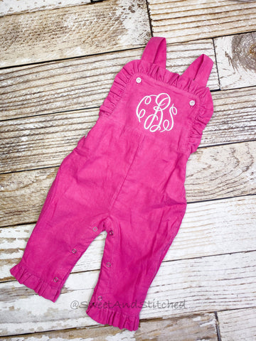 Baby girl monogrammed fall Corduroy outfit, Pink monogrammed overalls