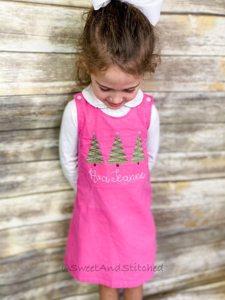 Girls Pink Corduroy Christmas dress - Monogrammed Pink jumper dress dress- Corduroy Christmas jumper dress