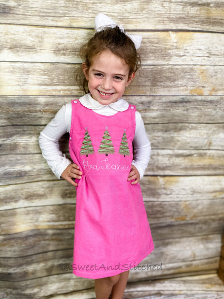Girls Pink Corduroy Valentine's dress - Monogrammed Pink jumper dress dress with heart design - Corduroy Valentine's outfit