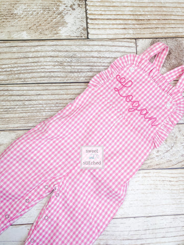 Baby girl monogrammed Spring or Easter outfit, Pink Gingham monogrammed Easter overalls