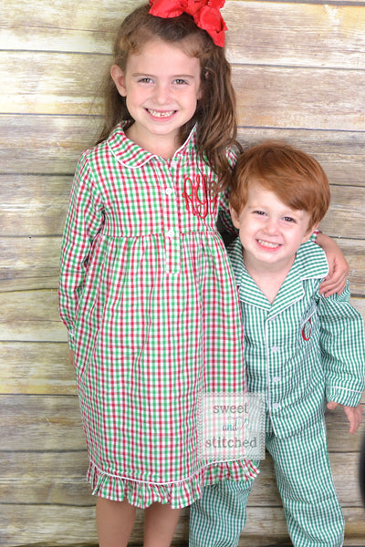 Kids Monogrammed Christmas Pajamas boys 2 piece sets with pocket monogram or girls nightgowns, family Christmas pjs, Kids Christmas Jammies