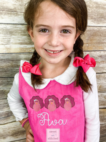Girls Pink Corduroy Thanksgiving Dress, monogrammed thanksgiving dress, corduroy jumper, personalized Corduroy dress,