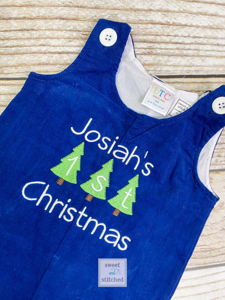 Personalized Baby Boy 1st Christmas outfit - monogrammed Christmas corduroy overalls, my 1st Christmas overalls navy