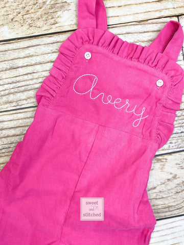 Baby girl monogrammed fall Corduroy outfit, Pink monogrammed overalls, girls Christmas outfit, baby girl valentine's outfit