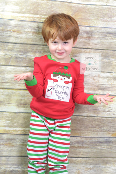 Kids Christmas Pajamas with elf naughty or nice design, Family Christmas pajamas Christmas pjs