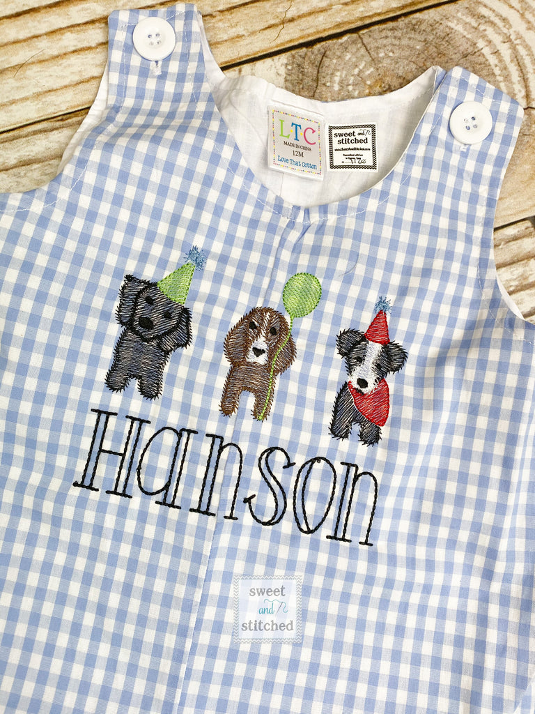 Personalized Baby Boy dog themed birthday outfit - Baby Boy puppy 1st birthday Outfit, birthday dog overalls