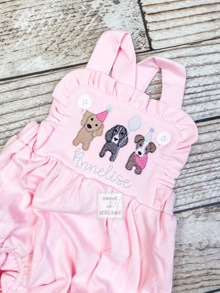 Monogrammed pink baby girl cake smash outfit with puppy dogs and name, girls birthday outfit, 1st birthday puppy themed cake smash outfit