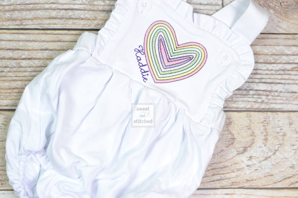 Monogrammed baby girl Valentine's outfit, ruffle bubble with vintage rainbow heart design, girls valentine's outfit, rainbow outfit