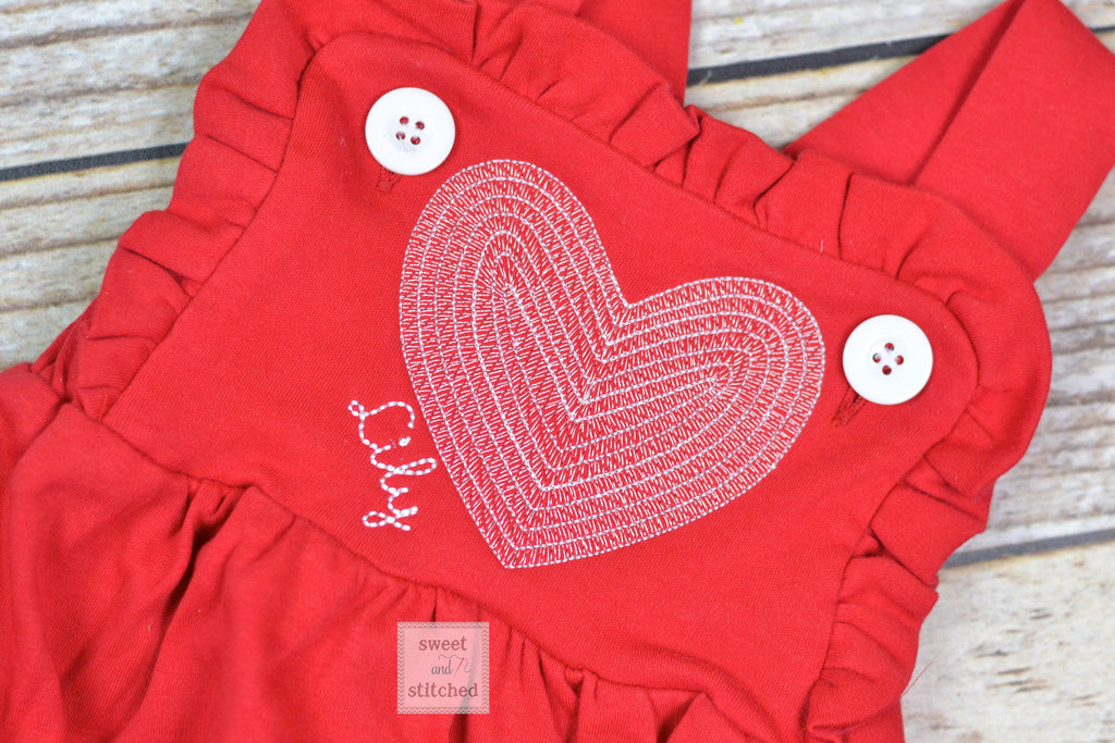 Monogrammed baby girl Valentine's outfit in red, ruffle bubble with vintage white heart design, girls valentine's outfit