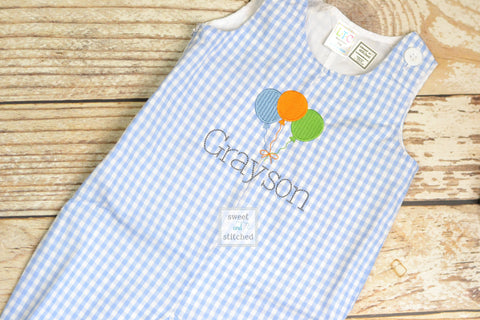 Monogrammed baby boy Birthday longall, personalized boys birthday overalls, boys cake smash outfit, balloon birthday outfit