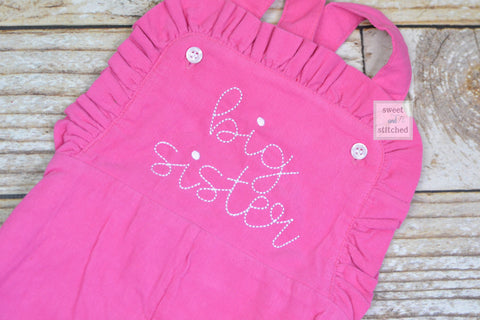 Baby girl Big Sister Corduroy outfit, Pink monogrammed overalls with Big Sister, big sister hospital outfit, big sister overalls