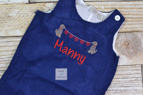 Baby boy Valentine's outfit, Toddler Boys Valentine overalls, Boys monogrammed valentine outfit, dog design with hearts