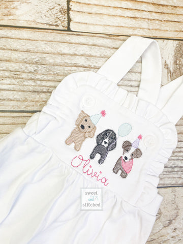Monogrammed baby girl cake smash outfit with puppy dogs and name, girls birthday bubble outfit, 1st birthday puppy themed cake smash outfit
