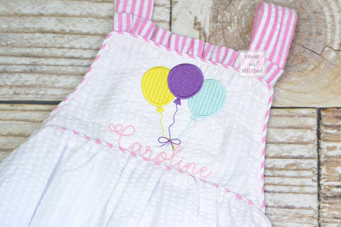 Monogrammed baby girl seersucker romper cake smash outfit with balloon design, girls 1st birthday outfit cross backed bubble