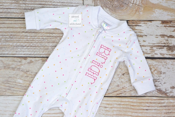 Newborn girl footed sleeper in polka dot, baby girl take home outfit, monogrammed newborn pajamas, baby zip up footie pajamas personalized