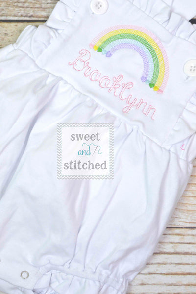 Monogrammed baby girl ruffle bubble with rainbow, girls summer monogrammed rainbow outfit, 1st birthday cake smash rainbow outfit,