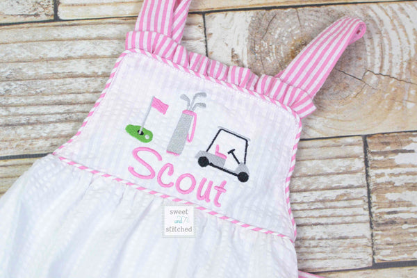 Monogrammed baby girl ruffle bubble with golf theme, golf themed birthday outfit, 1st birthday golf cake smash outfit, Summer Beach Outfit