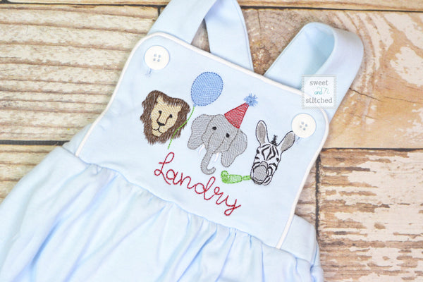 Monogrammed baby boy Birthday romper with zoo animals, party animal birthday outfit, zoo themed cake smash outfit, zoo birthday outfit