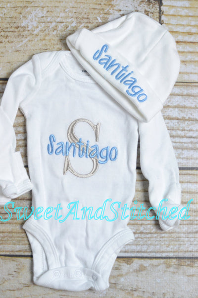 Personalized, monogrammed baby boy outfit gray and baby blue, bodysuit and newborn hospital hat with name - Sweet and Stitched