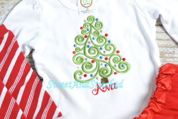 Girls Christmas Outfit with Christmas Tree Design and optional red tutu and candy cane leg warmers - Sweet and Stitched