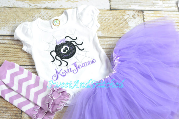 Girls Halloween Spider Bodysuit or Tee (Lavender) - Sweet and Stitched