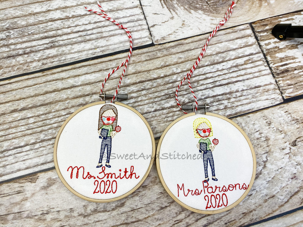 Personalized Teacher Gift Christmas Ornaments with Mask for 2020, Covid teacher gift