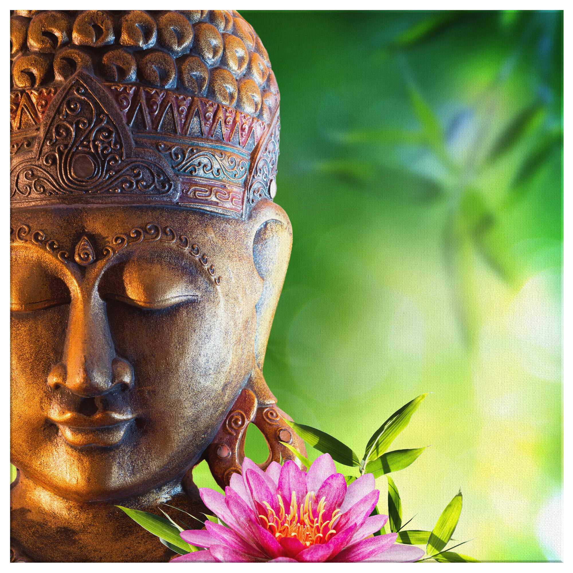 Ancient Buddha Statue with Pink Lily Flower