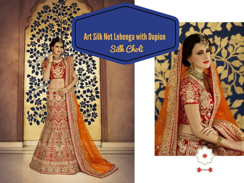 Art Silk Net Lehenga with Dupion Silk Choli