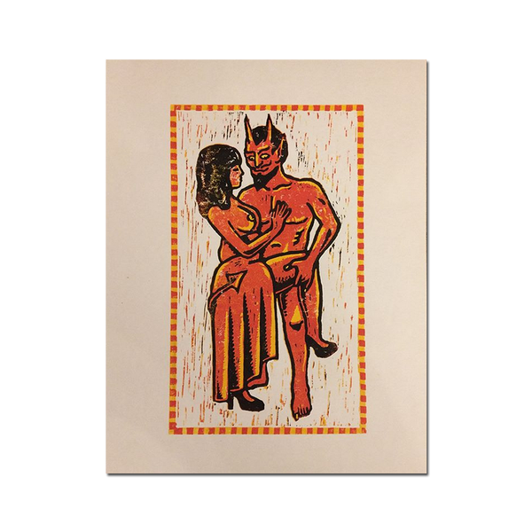 George Heaven - Devil Dance Lino Cut Print
