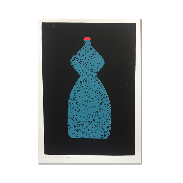 Out Of Office - 'A screen print of curved bottle with black dots'