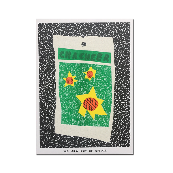 Out Of Office - 'A risograph print of a colorful bag of cha cheer sunflower seeds'