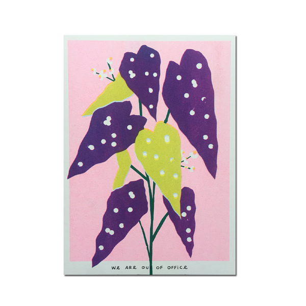Out Of Office - 'A risograph print of a weird colored dotted begonia plant'