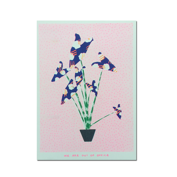 Out Of Office - 'A risograph print of a zebrina plant with weird leafs'