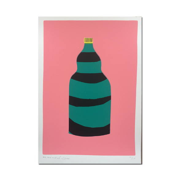 Out Of Office - 'A screen print of layered bottle'