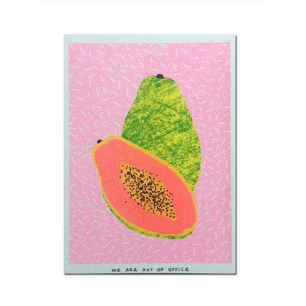 Out Of Office - 'A risograph print of one and a half papaya'