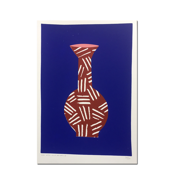 Out Of Office - 'A screenprint of a red vase with a medium long neck without flowers'
