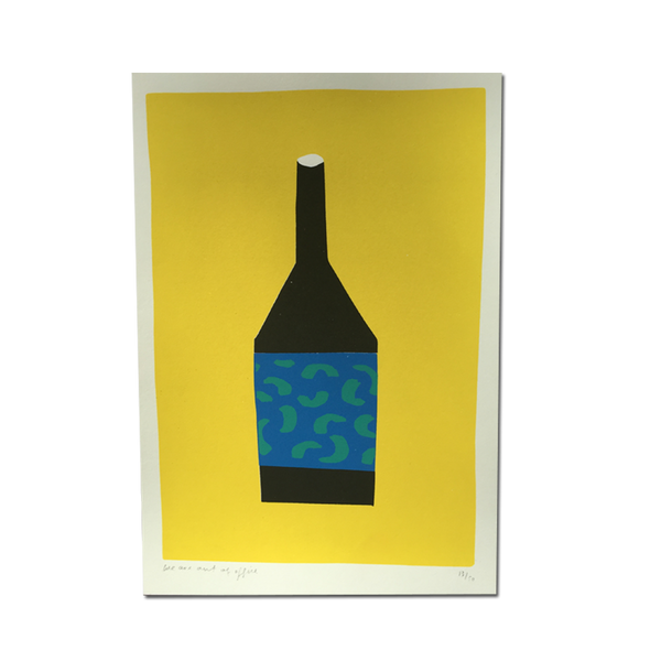 Out Of Office - 'A Screenprint Of Black Bottle On Yellow Background'