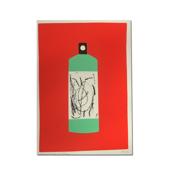 Out Of Office - 'A Screenprint of A Green Bottle on A Red Background'