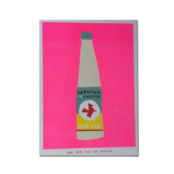 Out Of Office - 'A riso graph print of a bottle'