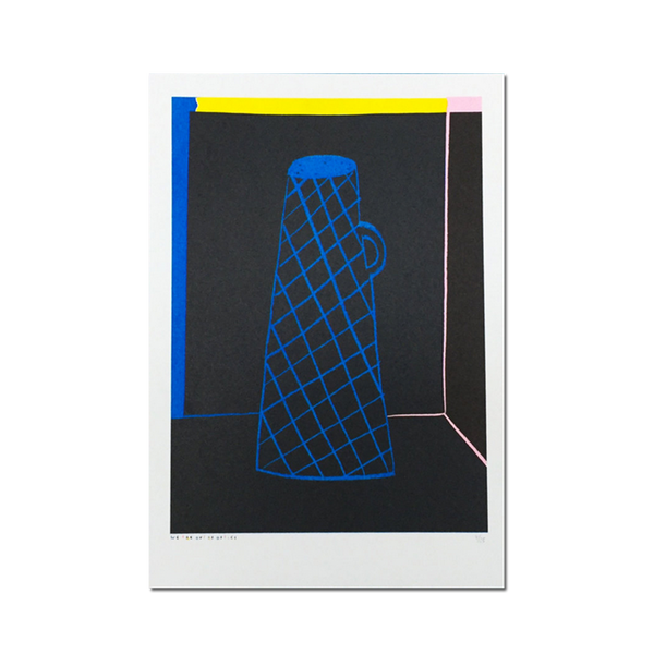 Out Of Office - 'A4 risograph of a blue vase with dark background