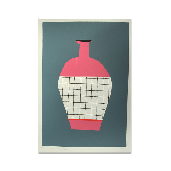 Out Of Office - 'A Screenprint of Pastel Bottle On Grey Background'