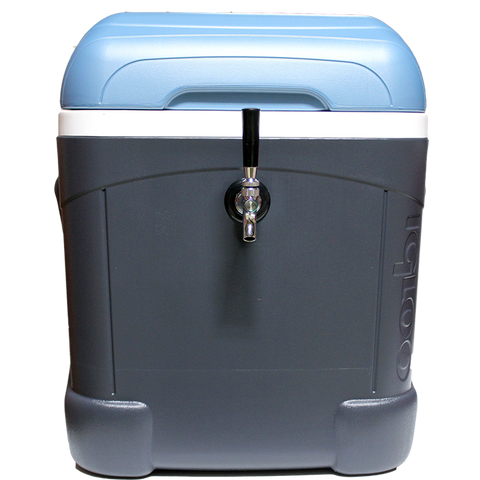kend brewer spotted dog portable tailgate coolerator cooler dispense beer blue tap mini keg carbonation CO2 cartridge weedraft