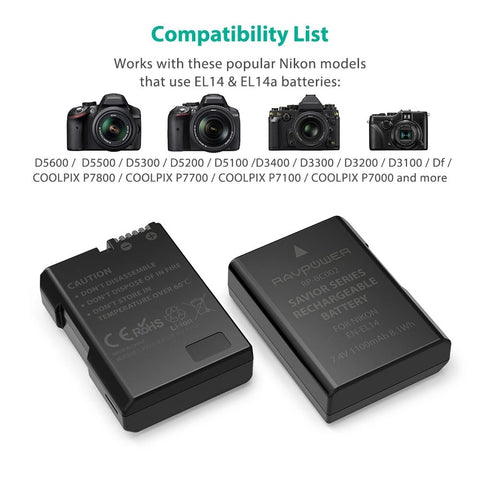 Shop and buy RAVPower RP-BC002 Camera Battery Charger Set for Nikon EN-EL 14A| Casefactorie™ online with great deals and sales prices with fast and safe shipping. Casefactorie is the largest Singapore official authorised retailer for the largest collection of mobile premium accessories.