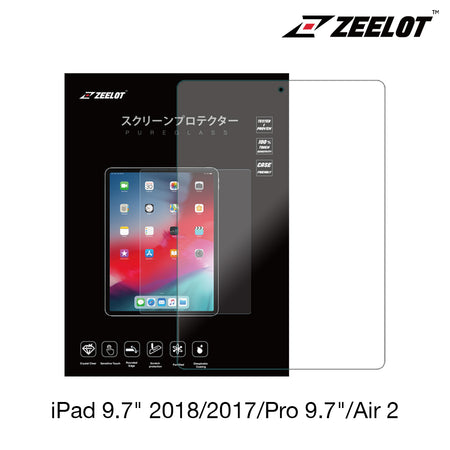 Zeelot PureGlass 2.5D Tempered Glass Screen Protector for iPad 2018/ 2017/ iPad Pro 9.7