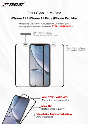iPhone 11 Clear 2.5D Tempered Glass Screen Protector Zeelot PureGlass Steel Wire