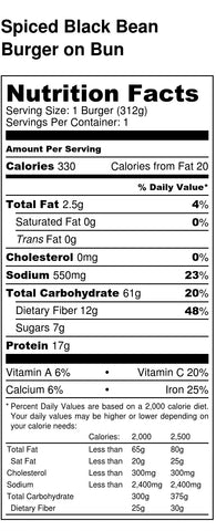Black Bean Burger Nutrition Label