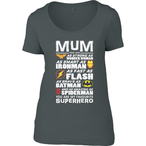 Superhero Mum Light - Anvil Ladies Sheer Scoop Neck T-Shirt - Movie TV Show Merch